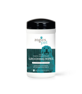 Zogics Pet Multi-Purpose Dog Grooming Wipes with Organic Oatmeal and Aloe - Thick, Hypoallergenic Wipes for Spot Cleaning and Between Baths