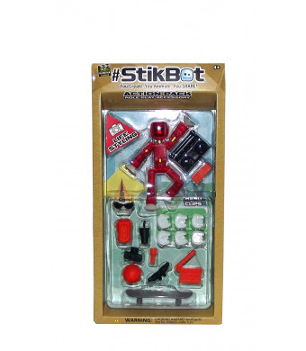 #StikBot Action Pack Figure Roleplay Accessory Set (Red, Life Styling)