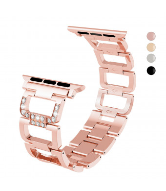 Compatible Apple Watch Band Series 3 Series 2 Series 1 Nike+ Hermes Edition, Rose Gold Matel Straps with Hook and Loop Fastener, Adjustable Closure Wrist Strap, Replacement Band, 42mm