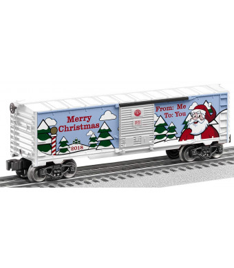 Lionel 684747 2018 Christmas Boxcar, O Gauge, Green, Red, White, Black