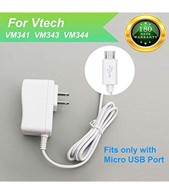 For Vtech VM341, VM343, VM344 Baby Monitor Charger Power Cord Replacement Adapter Supply for Vtech VM341, VM343 Parent Unit and Baby Unit, DC 5V 6.6Ft