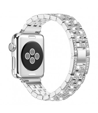 Reliaband for Apple Watch Band 38mm 42mm, Bling iWatch Bands Apple Watch Straps for Apple Watch Series 3, Series 2, Series 1, Edition-42mm Silver