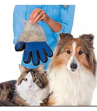 Pet Brush Grooming/Deshedding/Bathing Multi Color Hair Remover TPE Material (Blue)