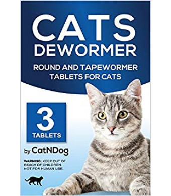CatNDog Cat Wormers - Cats Dewormer Round and Tapewormer Tablets for Cats