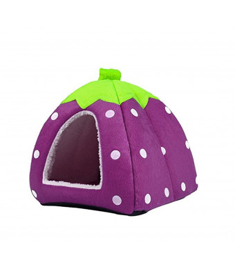 Patking Strawberry Guinea Pig Rabbit Dog Cat Pet Bed Small Animal Snuggle Puppy Supplies Indoor Water Resistant Beds