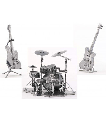 3D Metal Puzzle Models Of Drum Kit, Bass Guitar and Lead Guitar - DIY Toy Metal Sheets Assembling Puzzle, 3D puzzle  3 Pack