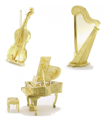 3D Metal Puzzle Models Of Violin, Harp and Piano - DIY Toy Metal Sheets Assembling Puzzle, 3D puzzle  3 Pack