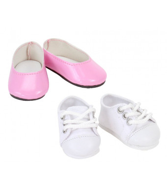 14 1/2 Inch Doll Shoes, Set of 2 | Hot Pink Ballet Flat and White Sneaker Doll Shoes Set, Perfect for Wellie Wishers and More!