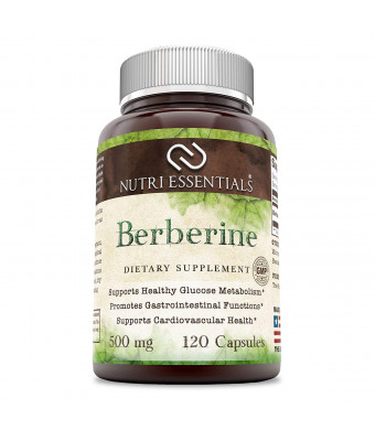 Nutri Essentials Berberine 500 Mg 120 Capsules- Supports Immune Function, Glucose Metabolism and Cardiovascular and Gastrointestinal Function