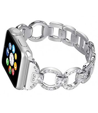 For Apple Watch Band 38MM iWatch Replacement Band Straps Stainless Steel Metal Bracelet with Bling Diamond Crystal for Apple Watch Series 3, 2, 1 Wristband Adjustable Straps for Women - SILVER