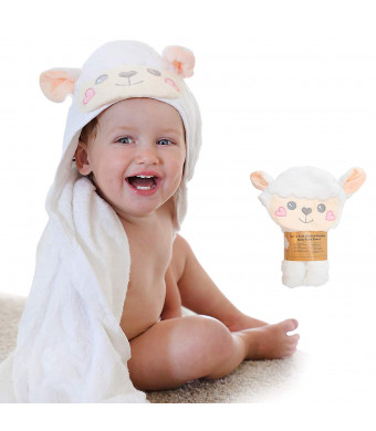Sonnellino | Baby Hooded Towels | Snoozy Bug Series Premium Plush 500 GSM Organic Bamboo | Infants, Toddlers, Boys and Girls (Lamb)