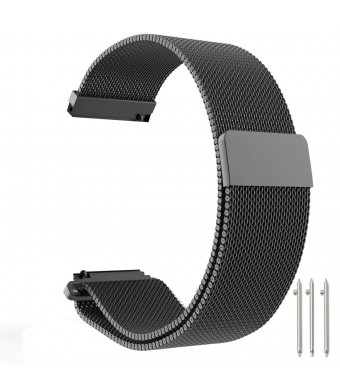18mm Watch Band Baoking Magnetic Clasp Adjustable Milanese Loop Mesh Stainless Steel Metal Replacement Strap Bracelet for Smart Watch Huawei/Fossil Q/Withings (Black,18mm)