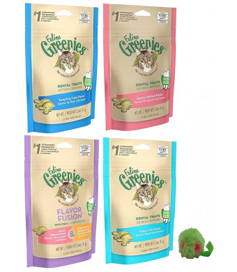 Greenies Feline Dental Treats for Cats 5 Pack Variety Bundle - Includes 4 Bags of Treats (2.5 Ounces Each), Plus 1 Grassland Pets Micro Mouse