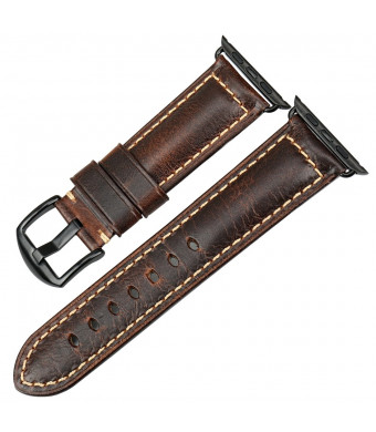 MAIKES Oil Wax Leather Strap For Apple Watch Band 42mm 38mm Series 3 2 1 iWatch Apple Watch Strap
