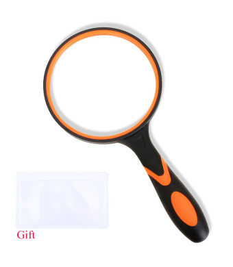 Magnifying Glass 3X Handheld Magnifier-3.95inch Large Magnifying Lens with Non-Slip Soft Handle for Reading,Inspection. (Orange Magnifying Glass)