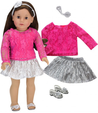 Sophia's Doll Clothing Set of Silver Metallic-Look Doll Skirt, Hot Pink Lace Top, Headband and Silver Doll Shoes, Perfect for American Dolls and More, 18 Inch Doll Dressy Outfit with Doll Dress Shoes
