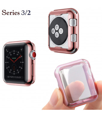 Josi Minea Apple Watch 3 and 2 [42mm] Protective Snap-On Case with Built-in Screen Protector - Anti-Scratch, Shockproof Ultra Thin Cover HD Clear Shield for Apple Watch Series 3 and 2 [ 42mm - Rose Gold ]