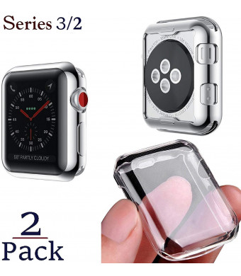 Josi Minea x2 Pcs Protective Snap-On Case with Built-in [ Clear ] Screen Protector - Anti-Scratch and Shockproof Ultra Thin Cover HD Shield Compatible with Apple Watch Series 3 and 2 [ 2 Pack - 42mm ]