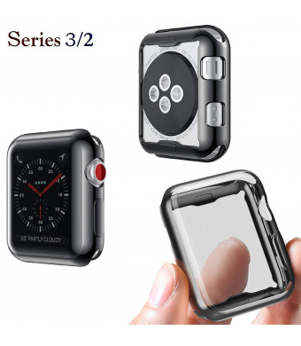 Josi Minea Apple Watch 3 and 2 [38mm] Protective Snap-On Case with Built-in Screen Protector - Anti-Scratch and Shockproof Ultra Thin Cover HD Clear Shield for Apple Watch Series 3 and 2 [ 38mm - Black ]
