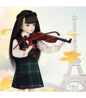 Xiaojing Doll Fortune Days Toys 10 inch Students Series Joint Body bjd Black Hair Including School Uniform Shoes (J1003, 25cm)