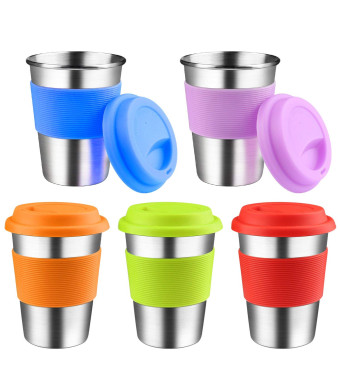 Kids Stainless Steel Cups With Silicone Lids and Sleeves, Kereda 5 Pack 11 3/4 oz. Drinking Tumblers Eco-Friendly BPA-Free for Adults, Children and Toddlers