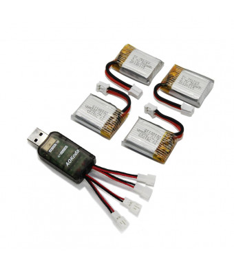 3,7V 200mAh Lipo Battery, Panboo Mini Drone Batteries with USB Charger for Eachine E010 E011 E013 JJRC H36 NH010 REDPAWZ R011 Poke FPV GoolRc T36 (4 Batteries + Charger)