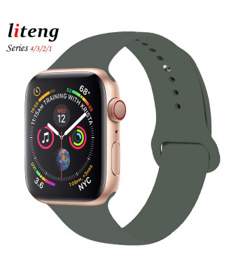 LITENG Sport Band for Apple Watch 38mm 40mm 42mm 44mm, Soft Silicone Sport Strap Replacement Bands for iWatch Apple Watch Band Series 4, Series 3, Series 2/1 Sport and Edition (Olive Green, 40mm/38mm)