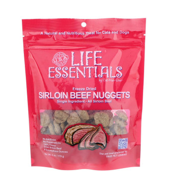 Life Essentials by Cat-Man-Doo Freeze Dried Sirloin Beef, Sirloin Beef and Cheese Nugget Dog Treats - 3 oz, 6 oz