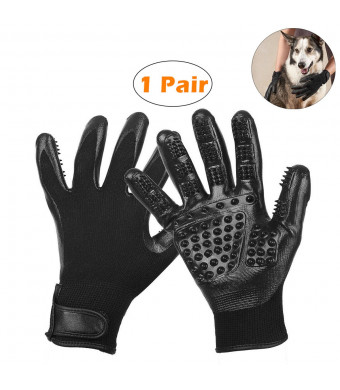 Dog Grooming Glove Brush, Cat Brushing Mitt, Pet Bathing Glove, Upgrade Version Silicone, Easy to Remove Loose Fur, Give Your Pet a Nice Massage