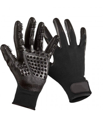 Pet Grooming Glove[Upgrade Version] Gentle Deshedding Brush,Pet Massage Mitt, Pet Hair Remover, Bathing Shedding Massage Tool for Dogs,Cats and Horses with Long and Short Fur- 1 Pair Black