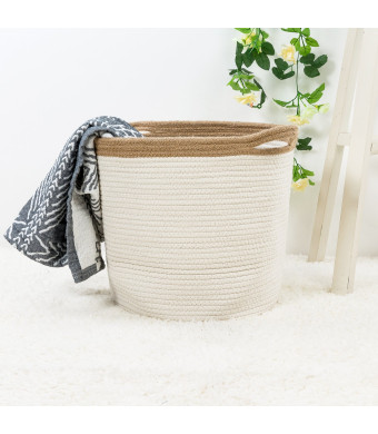 """Goodpick 15"""" x 12.6"""" x 11.8"""" Large Cotton Rope Basket - Woven Storage Basket - Baby Bins for Diapers, Laundry Organization, Toys, Towels, Blankets, Nursery - Decor Cotton Storage Container"""