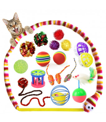 PupMoe Kitten Toys Cat Tunnel Toys Variety Pack Interactive with Cat Balls, Collapsible Cat Tunnel, Chew Toys,Cat Tumbler, Cat Toy Mouse, Feather Teaser Wand and Crinkle Balls for Cat, Puppy, Kitty