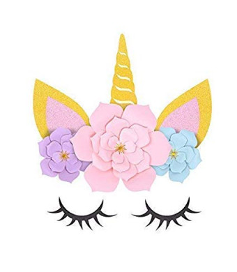 MORDUN Unicorn Party Supplies and Decorations Backdrop For Girls Birthday Party Baby Shower - DIY Unicorn Flower Backdrop
