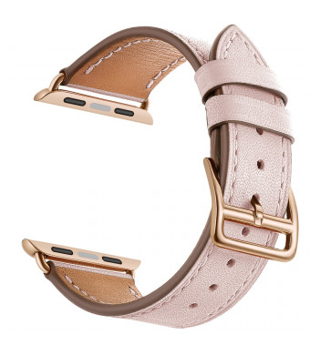 LEUNGLIK Watch Bands for Apple Watch 38mm 40mm Watch Straps Leather Replacement Bands Compatible for iWatch Series 4/Series 3/Series 2/Series 1 with Rose Gold Stainless Steel Adapters(Pink)