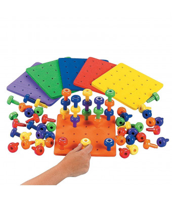 """Stacking Pegs with Board - 8.5"""" Square Board, Pegs 2"""" - Includes 2 Boards and 60 Pegs  Assorted Colors - Fun Game for Kids, Montessori, Occupational Therapy, Motor Skills, Autism."""