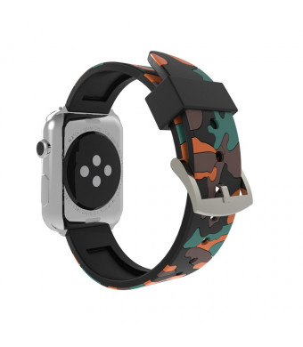 Gogowendy for Apple Watch Band 42mm 38mm Camouflage Durable Soft Silicone Replacement Wristband for iWatch All Models(Camouflage-OR,42MM)