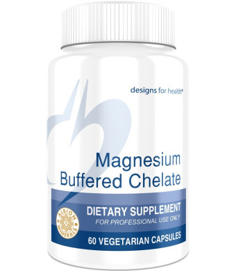 Designs for Health Magnesium Buffered Chelate - 300 mg TRAACS Magnesium Bisglycinate Chelate Buffered (60 Capsules)