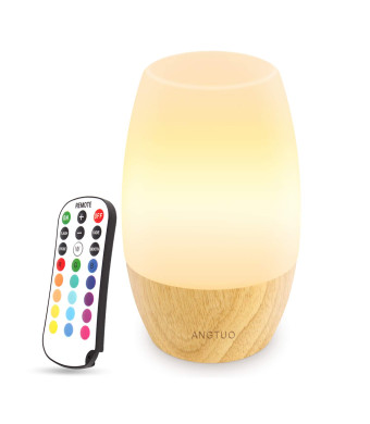 ANGTUO HKK0104 LED Night Light, Table Bedside Lamps for Bedrooms Living Room, Soft Silicone Lampshade, Hard Wooden Base, 4 Brightness and 16 Colors Control by Remote, US Plug.