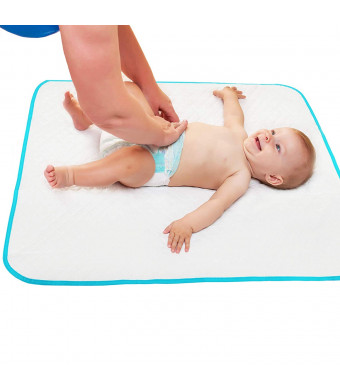 "Portable Changing Pad with Free Storage Bag  Waterproof Reusable Large Changing Pad 31.5""x25.5'' - Baby Changing Mat with Reinforced Seams - Unisex"