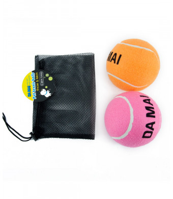 Da Mai 5-inch OrangeandPink Color Tennis Ball for Sports and Pet Toys Dogs Outdoor Sports Cricket (2 Balls)