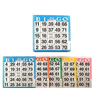 """American Games Bingo Paper Game Cards - 1 Card - 5 Bingo Sheets - 300 Books - Standard Size (4"""" Square) - 5 Colors, Made in USA"""