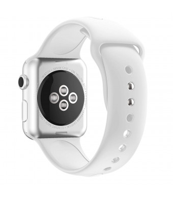Winso Soft Silicone Band Replacement for Apple Watch 38mm, Sport Strap for Smart iwatch Series 3 Series 2 Series 1 All Models (White, 38mm)