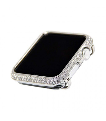 iRepair 38mm Sparkling Crystal Diamond Case Cover Bezel Compatible with Apple Watch 38mm Series 3 Series 2 Series 1(No Edition/Ceramic Version) - Silver (38mm)