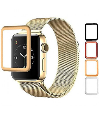 Josi Minea Apple Watch [ 38mm ] 3D Tempered Glass Screen Protector with Edge to Edge Coverage Anti-Scratch Ballistic LCD HD Cover Guard Premium Shield for Apple Watch - 38mm [ Gold ]