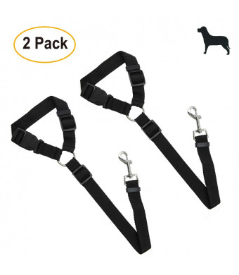 BUNDLEPRO Pack of 2 Pet Seat Belt Straps | Adjustable Headrest Safety Restraints for Dogs or Cats Nylon Fabric | 360 Degree Swivel Metal Snap | Can Also be Used as Leash