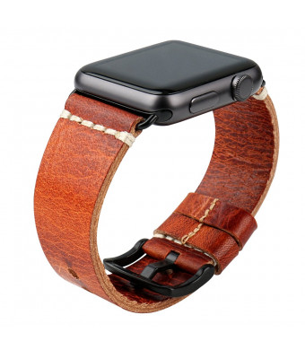 MAIKES Wristband Oil Wax Leather Strap For Apple Watch Band 42mm 38mm Series 3 2 1 iWatch Watchband
