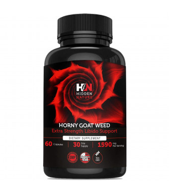 Pure Horny Goat Weed with Maca and Tribulus, Female and Male Enhancement Fast Acting Pills, Natural Energy, Performance, Libido Booster and Sexual Health | 60 1590 mg Optimum Dosage