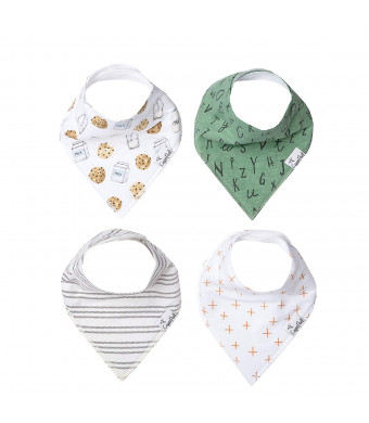 Baby Bandana Drool Bibs 4 Pack Gift Set for Boys or Girls Chip Set by Copper Pearl