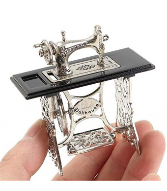 EatingBitingR 1/12 1:12 Scale Dollhouse Miniatures Furniture Vintage Silver Sewing Machine Table Metal , Sewing Machine Pedal Can Move , Worth to Keep