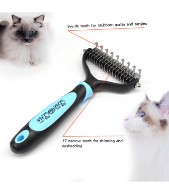 JuandJu Pet Grooming Tool, 2 Sides Skin Friendly 9+17 Rake for Dogs and Cats, Remove Mats, Tangles and Knots Effectively